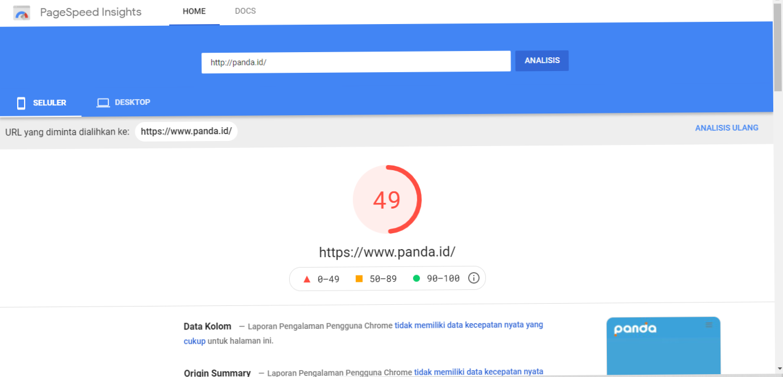 kecepatan lading website