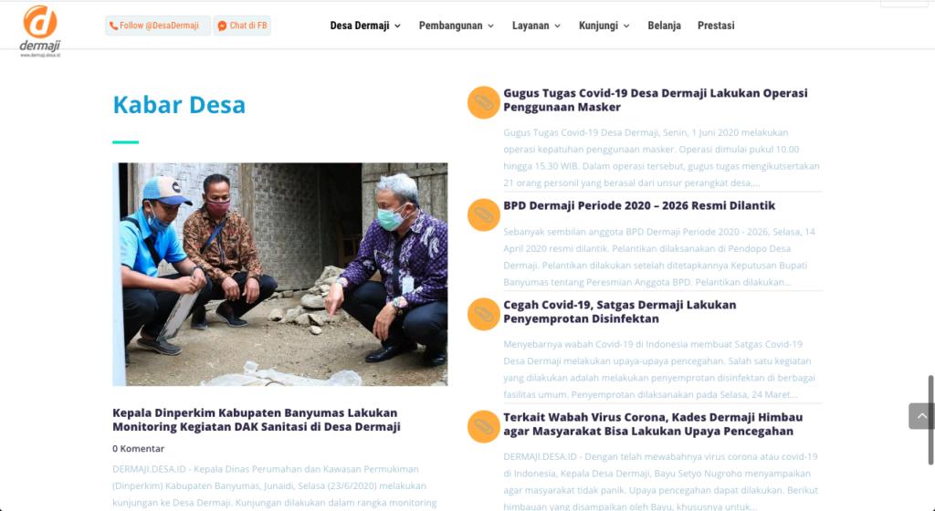 Desa Dermaji menjadikan website desa menjadi sarana penyebaran informasi terkait wabah Covid-19